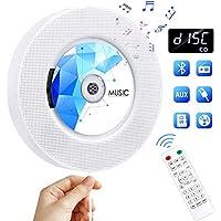 Gueray CD-speler Wandmontage Bluetooth Ingebouwde HiFi-luidsprekers met LCD-scherm Home Audio FM-radio TF-kaart USB MP3-muziekspeler 3.5 mm AUX-aansluiting Kabelschakelaar en afstandsbediening