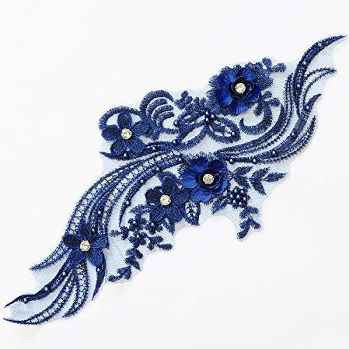刺繍 ビーズ モチーフ 約36cm ドレス 衣裳 ウェディング (ネイビー)