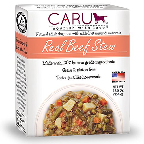 Caru - Real Beef Stew for Dogs, Natural Adult Wet Dog Food with Added Vitamins and Minerals, Free from Grain, Wheat and Gluten (12.5 oz)