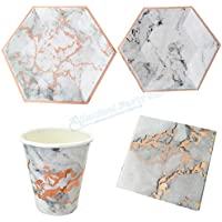 40 Sets Marble Paper Disposable Tableware Christmas Birthday Party Rose Gold Paper Plates Cups Straws Carnival Party Supplies
