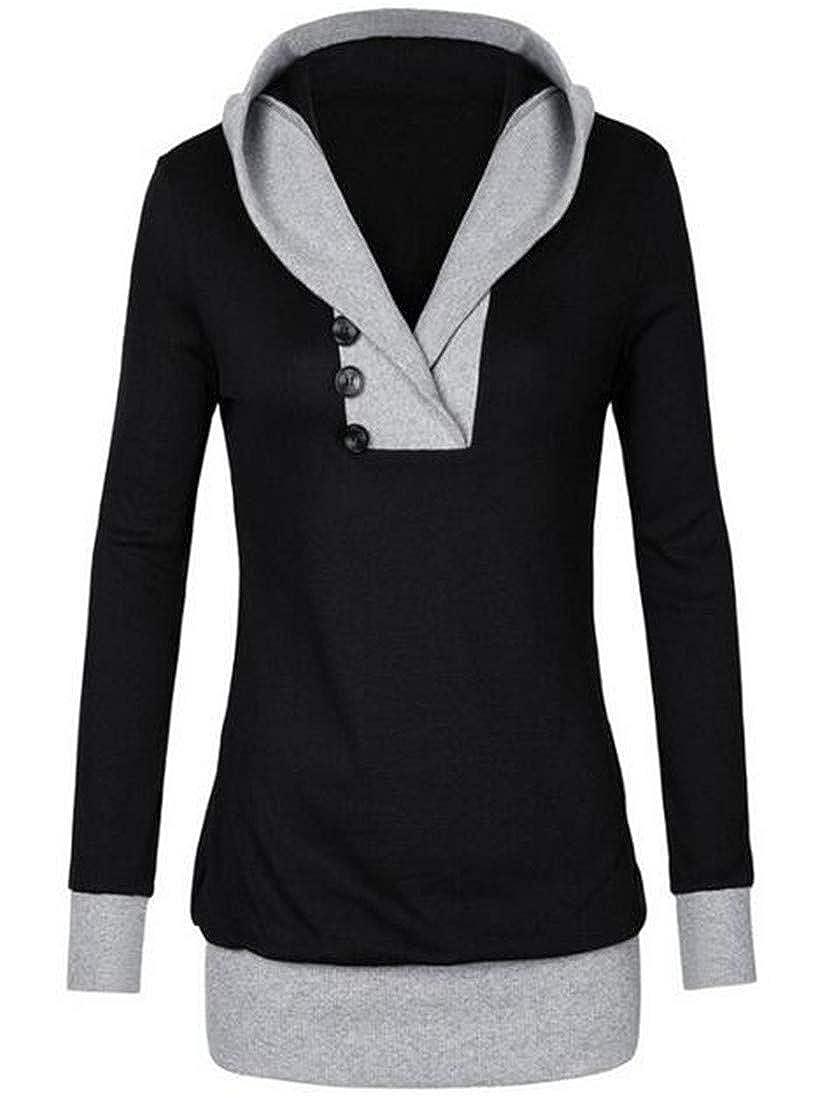 MU2M Women Classic V Neck Color Block Long Sleeve Hooded Sweatshirt Blouse