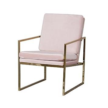 EVAHO Sillón cómodo Relax sillón de Terciopelo Rosa latón ...