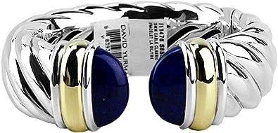 Amazon Com David Yurman Xl Classic Cable 25mm Cuff Bracelet Silver 18k Gold Lapis Sz M Jewelry