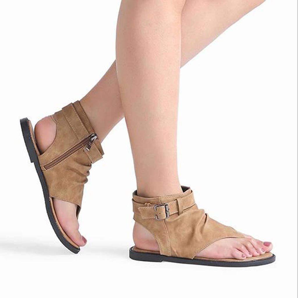 KItipeng Chaussures Femme/—Sandales Femmes Plates Pas Cher Bout Ouvert Leisure Tongs Flip-Flops for Women avec Fermeture /éClair,Grande Taille Boh/êMe Musulman Noir-Marron Chaussures De Plage Femme