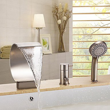MAOFALZZNA Bathtub Faucet - Contemporary Nickel Brushed Tub and Shower Ceramic Valve/Brass/Single Handle Three Holes