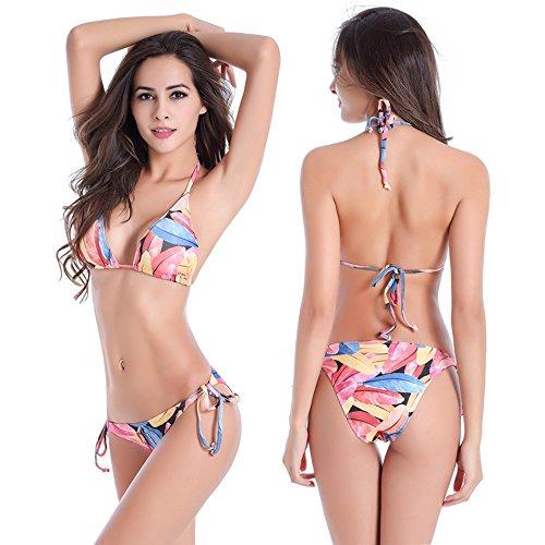Bikini para las mujeres,Nuevo estilo de bikini colorido para la fiesta de la piscina hoja