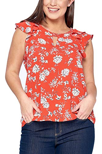 Floral Flutter Sleeve Top - Women's Junior Plus Floral Cut-Out Top with Layered Flutter Sleeves Red 1X