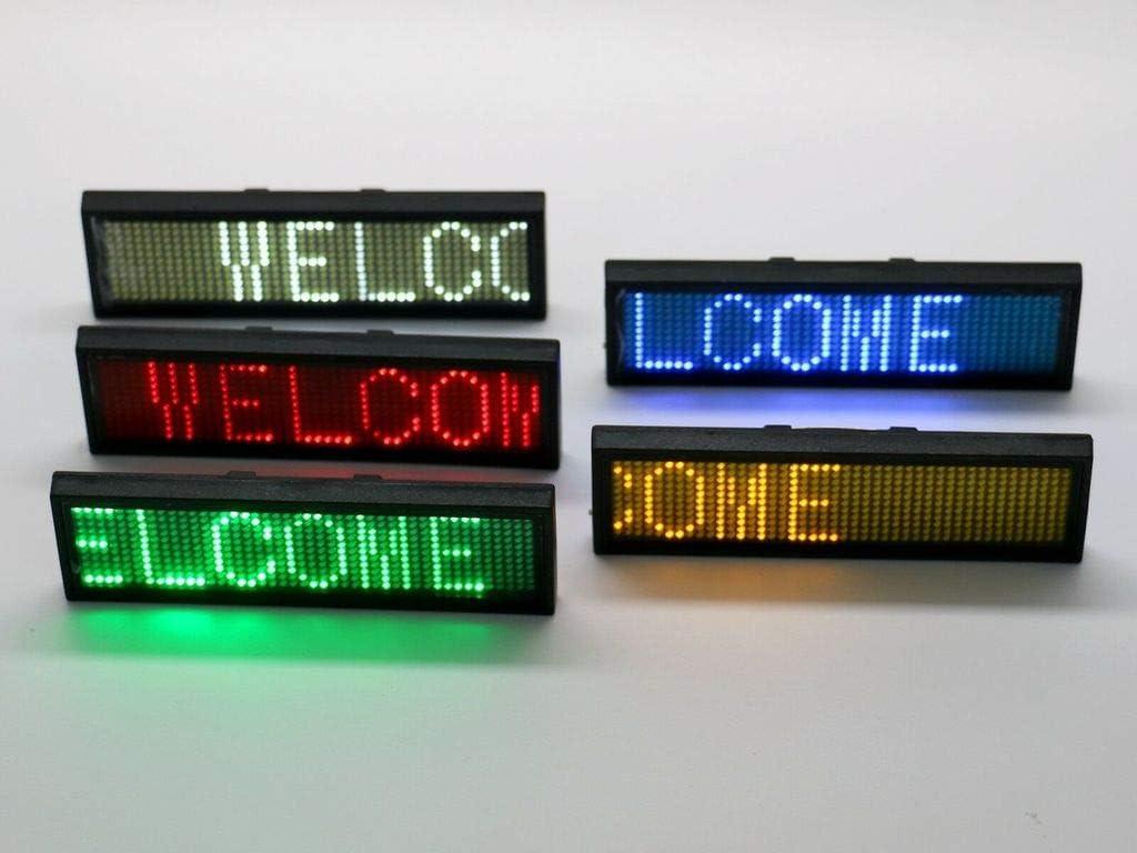 MidoriMori LED Programmierbare Namensschild Digital Scrolling Business Abzeichen Wiederaufladbare Namensschild Karte mit Magnet//Pin f/ür Restaurant Shop Party Bar Ausstellung