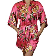Ms Lovely Women's Satin Floral Kimono Short Bridesmaid Robe W/Pockets - Coral M/L
