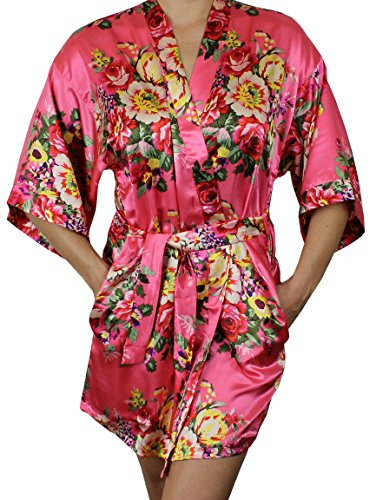 Women's Satin Floral Kimono Short Bridesmaid Robe W/Pockets - Coral XS/S]()