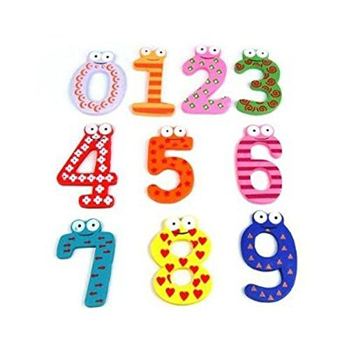 WONFAST� Creative Cartoon Colorful Numbers 0-9 Early Childhood Educational Number Wooden Fridge Furniture Decorations Magnets Refrigerator Magnetic Stickers Kid Toys (number sticker)