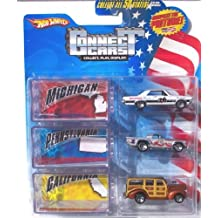 Connect Cars Hot Wheels Starter Set Michigan Pennsylvania California with Display Case