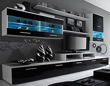 SelectionHome - Mueble salón comedor moderno, acabado en Blanco Mate y  Negro Brillo Lacado, medidas: 250x194x42 cm de fondo