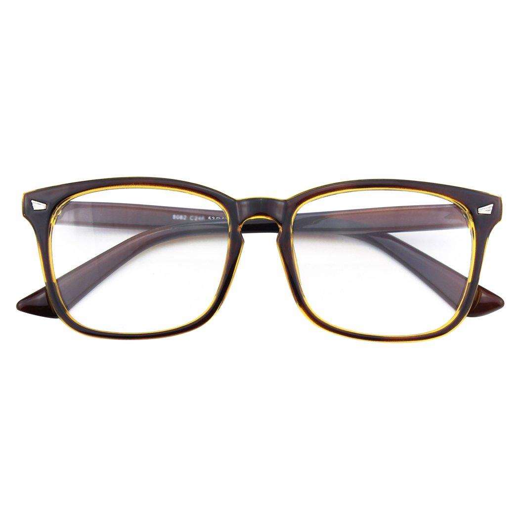 CGID CN82 Large Oversized Bold Frame UV 400 Clear Lens Horn Rimmed Glasses Black Spot FBA8082b-03