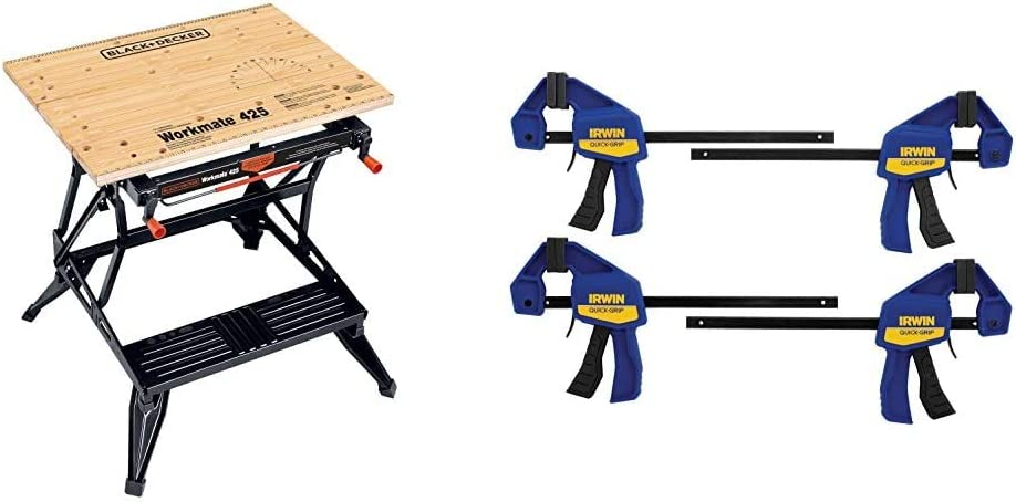 BLACK+DECKER Portable Workbench, Project Center and Vise with IRWIN QUICK-GRIP Clamps, One-Handed, Mini Bar, 6-Inch, 4-Pack (WM425-A & 1964758)