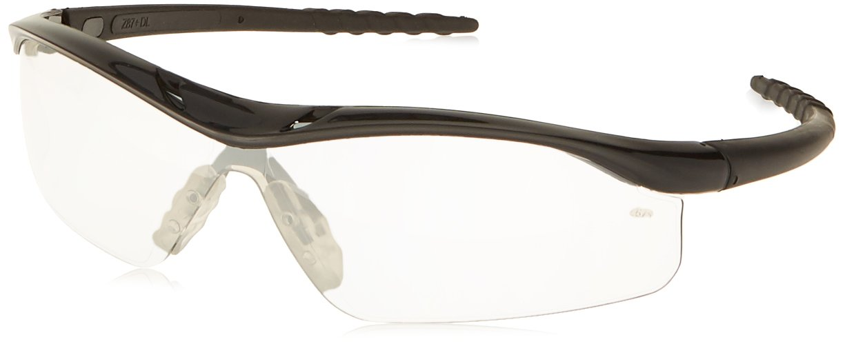 MCR Safety DL119AF Dallas Safety Glasses with Polished Black Frame and Indoor/Outdoor Clear Mirror Anti-Fog Lens