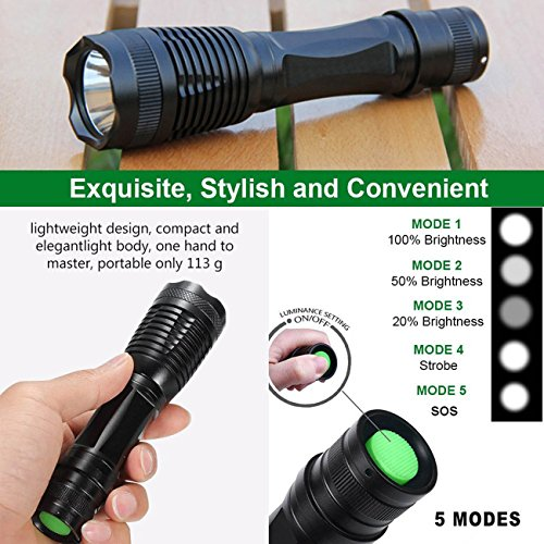 Garberiel 2 Packs LED Flashlight 18650 Rechargeable Flashlight Torch Waterproof T6 Light - Recharcheable Battery & Charger Included by Garberiel (Image #2)