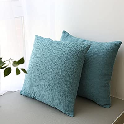 Kevin Textile Decor Velvet Throw Pillow Covers Cushion Case, Soft Striped Decorative Pillow Cover, Winter Pillowcase for Couch/Chair/Bed, 18 Inch, 2 pcs, Niagara Blue - PACKAGE: Include 2 pc 18x18 inch /45x45cm (1-2cm deviation) cushion cover. No Cushion Insert. MATERIAL: Flocking striped corduroy cushion cover is made of 100% high quality velvet. Soft and environmental. DESIGN: Stripes look like a maze, a 3D effect, match the current popular color, giving the visual and tactile enjoyment. Hidden zipper design can be opened around 34-36 cm for the cushion insertion. - living-room-soft-furnishings, living-room, decorative-pillows - 51cpWKxafrL. SS400  -