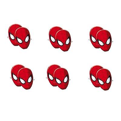 ALMACENESADAN 0555, Pack 12 caretas Spiderman, para Fiestas y cumpleaños: Juguetes y juegos