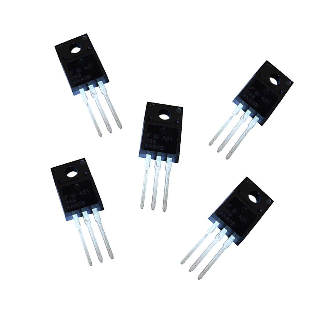 MagiDeal 5pcs Transistor MOSFET Energí a 600V 8A 3 Pin TO-220 8N60 para Inversor Motor Regulador de Coche Durable