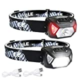 LE LED Headlamp, Super Bright Rechargeable Head Lamp with white & Red Light and 6 Lighting Modes, Compact and Lightweight, Waterproof Headlamp Flashlight for Camping Hunting Climbing Running Outdoor, 2 Packs
