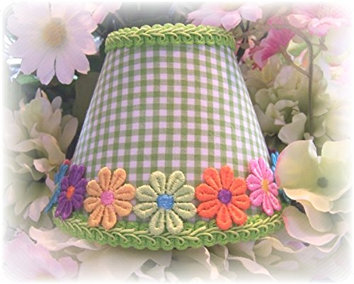- Lime Green & White Checks With or Without Colorful Applique Daisy's Gingham MINI Clip On Shade