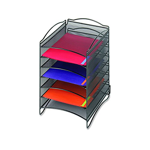 Safco Products 9431BL Onyx  Mesh Literature Organizer, 6 Compartment, (Onyx Steel Mesh)