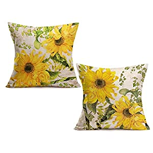 Fukeen Sunflower Decorative Holiday Pillow Covers Yellow Floral Design Pillow Cases Square Cotton Linen Set of 2 Throw…