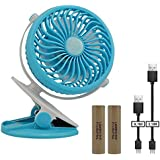 Mini Clip Desk Fans, Mlife Portable USB Battery Operated Small Personal Fan, 720°Rotation for Table, Desk, Office, Camping, Traveling, Dorm, Baby Stroller - Enhanced Airflow, Lower Noise (Blue)
