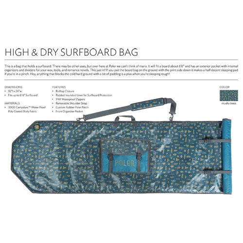 Poler Stuff Bag Surfboard, Ocean Mushy Trees, 50 x 40 x 6 cm, 18 Liter, POLBAG_SUR