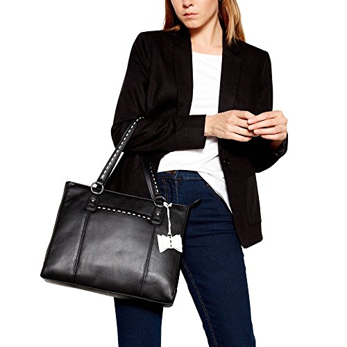 Bag Bow Womens Leather Collection Black Stitch Tote The w7F80xqz