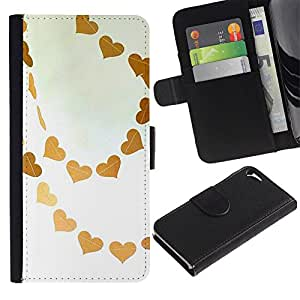 LASTONE PHONE CASE / Lujo Billetera de Cuero Caso del tirón Titular de la tarjeta Flip Carcasa Funda para Apple Iphone 5 / 5S / Brown Sky Love White Art