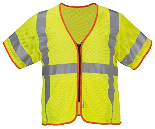 Lakeland FR/ARC Modacrylic Mesh ANSI-Class 3, Sleeved, Hi-Vis Vest with Zipper Closure, Orange Contrast Binding and Slant Pockets. ATPV: 5.1 Cal. CAT 1. Lime/Yellow. Size 2XL