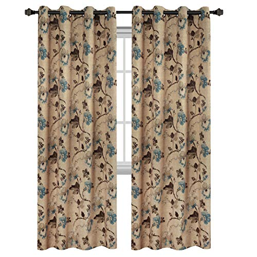 leep Well Blackout Curtains for Living Room,Thick and Soft Grommet Curtain, Traditional Vintage Floral in Taupe/Brown/Teal, 1 Panel, 52x96 - Inch ()