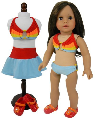 Doll Bathing Suit Set & Shoes, 4 Pc. 18 Inch Doll Bikini Set by Sophia's, Cover Skirt & Matching Shoes Fits American Girl Dolls & More! 4 Pc Rainbow