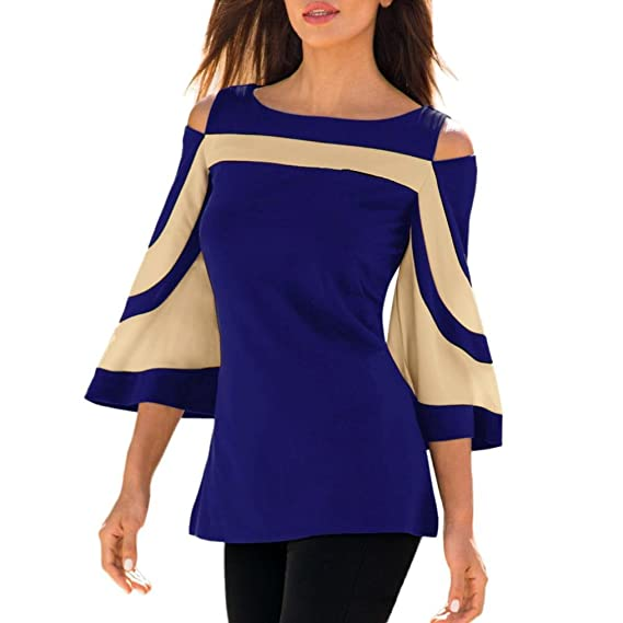JiaMeng Moda Camisa de Manga Larga para Mujer Blusa con Hombros Descubiertos Sudadera Blusa (Azul