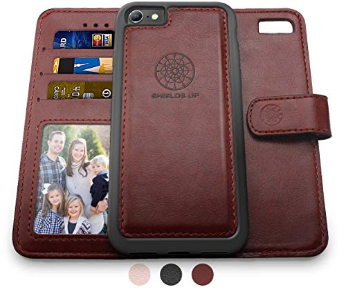 Shields Up iPhone 8 Wallet Case, iPhone 7 Wallet Case, Durable and Slim, Lightweight with Card/Cash Slots, Wrist Strap, [Vegan Leather] Cover for Apple iPhone 8/7 (Brown)