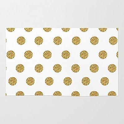 Society6 Gold Glitter Polka Dots Rug