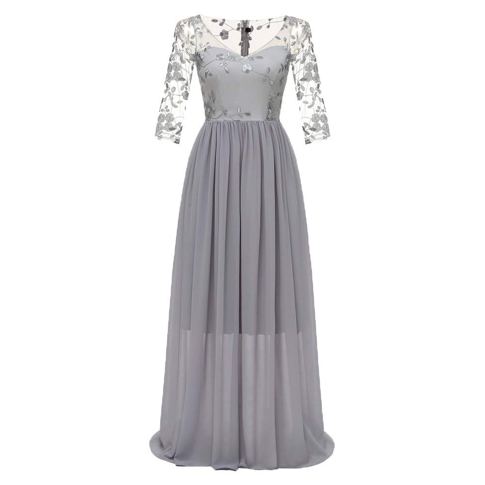 TANLANG Women Double Lace Embroidery Bride Dresses Lace Applique Chiffon Flutter Hem Long Sleeve Evening Formal Party Gowns Gray