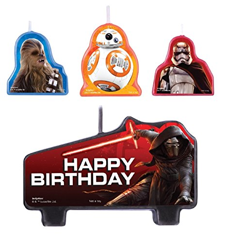Amscan Star Wars Episode Vll Birthday Candle (Set of 4), Multicolor (Birthday Star Wars)