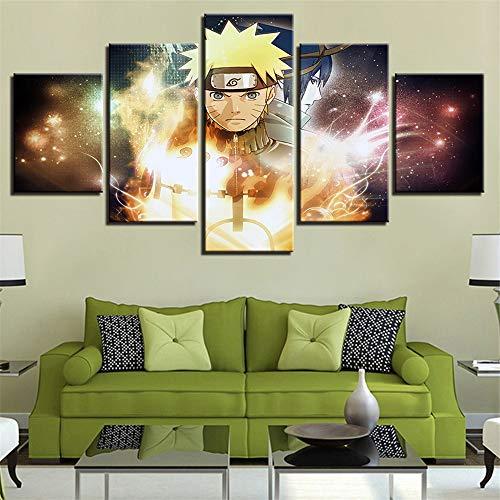 (Whian 5 Pcs/Set Cartoon Anime Canvas Painting Mural Art Prints Posters Decor Bedroom Home Decorations Naruto 80/60/40x30CM)