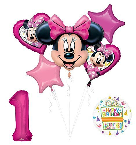 NEW Minnie Mouse 1st First Birthday Party Supplies Balloon Bouquet Decorations