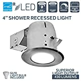 """Nadair 4"""" LED Bathroom Shower Dimmable Downlight Spotlight Recessed Light Energy Star Complete Kit, LED GU10 550 Lumens (50 Watts Equivalent) Bulb Included, IC & Non-IC Rated, BN, 3000K Warm White"""
