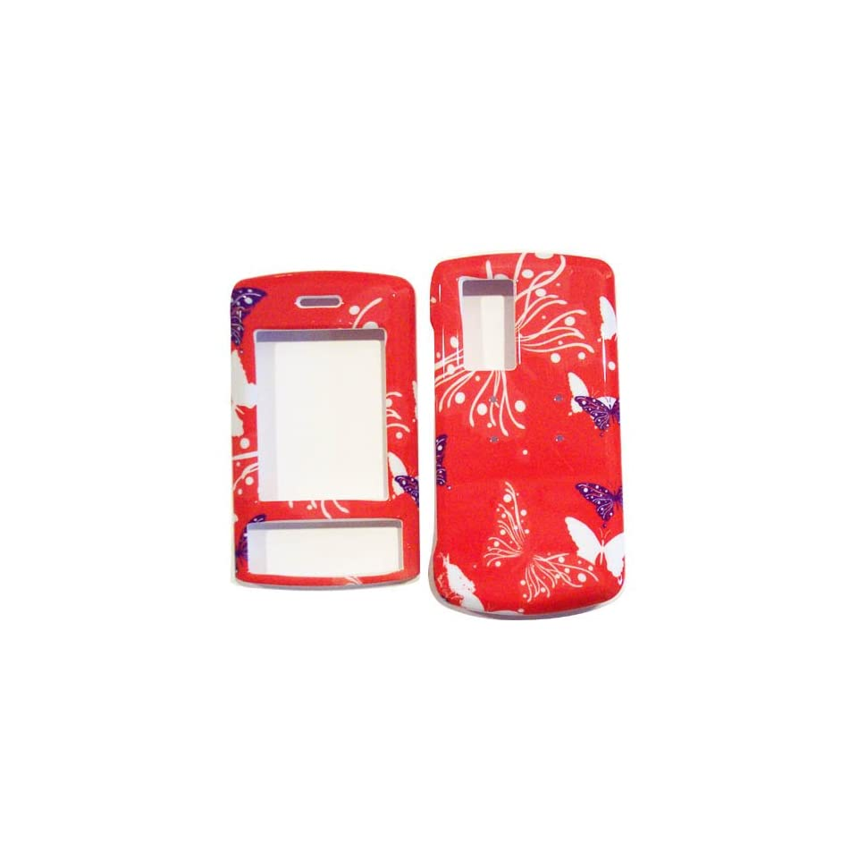 Hard Plastic Snap on Cover Fits LG KE970 Shine Butterfly Dot/Hot Pink AT&T Cell Phones & Accessories