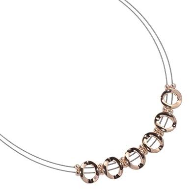 Magnet Modeschmuck: Silber und Rose Gold Draht Halskette mit ...