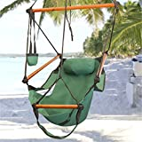 Chair Hanging Organizer Hammock Hanging Chair Air Deluxe Sky Swing Outdoor Chair Solid Wood 250lb : Hammock Chair Air (Green)