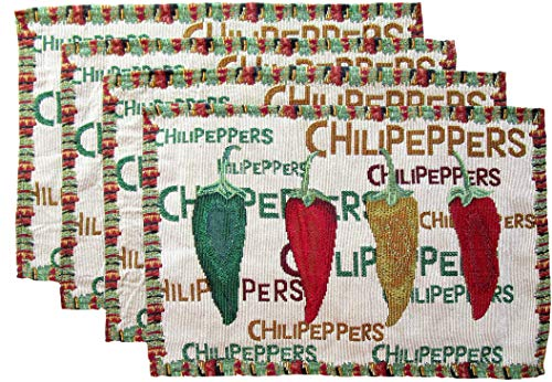 Everyday Woven Tapestry Place Mats - Set of 4 (Red, Green, and Yellow Chili Peppers with Border) by Everyday