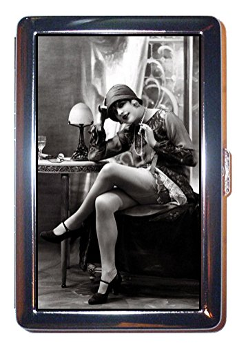 1920s Sexy Flapper Girl Shows Off Nice Legs! ID Wallet or Cigarette Case USA Made -