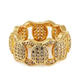 Mcsays Hip Hop Rings Jewelry Iced Out Full Crystal Cuban Chain Special Ring CZ Bling Gold/ Silver Plated Finger Rings for Men/Women Dope Gifts(Color:gold,Size:Q)
