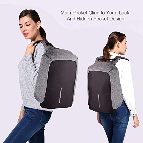 Laptop Backpack business anti-theft waterproof travel computer backpack with USB charging port college school computer bag for women & men fits 15.6 Inch Laptop and Notebook - Grey by Langus (Image #4)